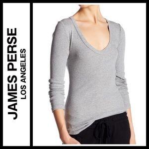 James Perse Rib Knit Long Sleeve V-Neck Tee NWOT